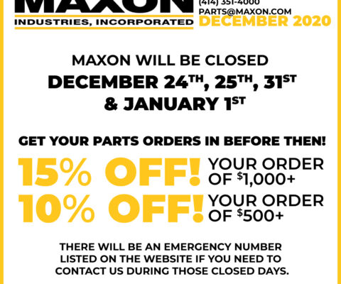 December Closure Dates & Parts Deal!