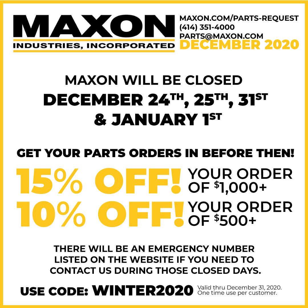 December Closure Dates & Parts Deal!