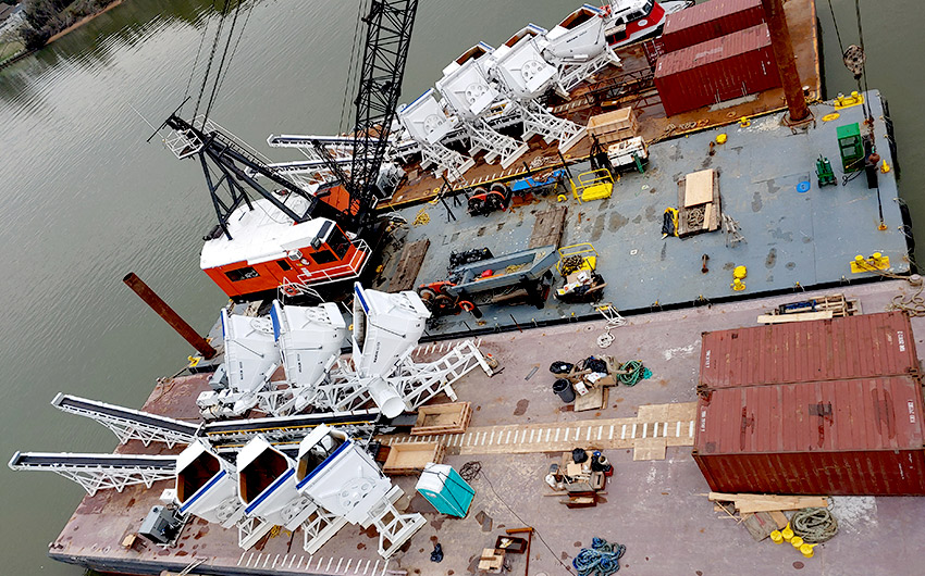 Maxon Agitors and Conveyors on Transport Barges